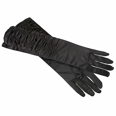 A Pair Long Stretch Satin Ruched Evening Gloves for Fancy Dress Costume Black FK