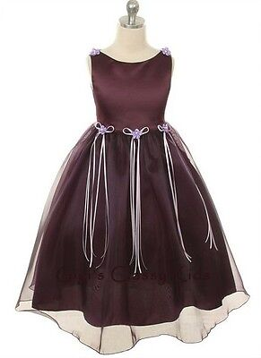 New Satin Organza Flower Girls Dress Easter Christmas Pageant Rose Buds USA