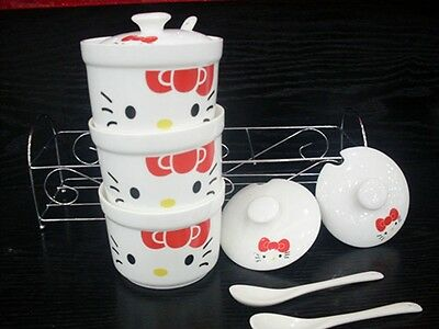 RED BOW WHITE COLOR KITTY 3 pcs Ceramic Multiple Use Seasoning Bottle with RACK