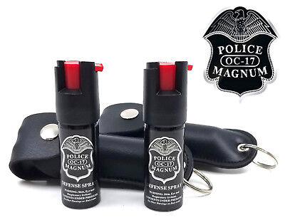 2 POLICE MAGNUM MACE PEPPER SPRAY .50oz with BLACK KEYCHAIN HOLSTER Self Defense