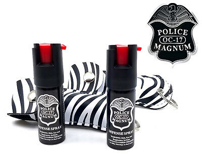 2 Police Magnum pepper spray .50oz zebra keychain holster defense protection