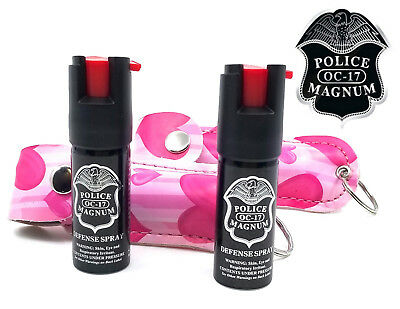 2 Police Magnum pepper spray .50oz pink heart keychain holster self defense