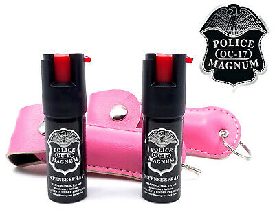 2 Police Magnum pepper spray .50oz pink keychain holster self defense protection