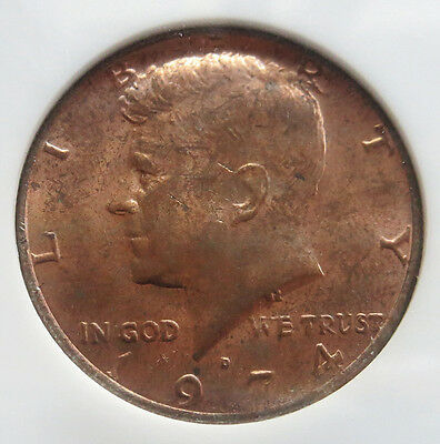 1974 D Kennedy Half Dollar Error Obverse Clad Layer Missing Ngc Mint State 64
