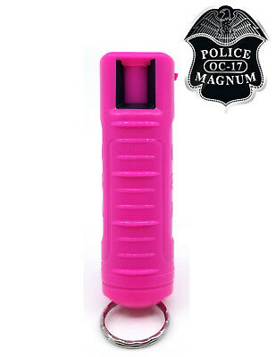 Police Magnum mace pepper spray .50oz hot pink molded keychain self defense
