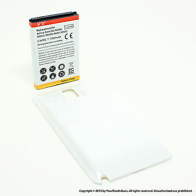 7000mAh Extended Battery for Samsung Galaxy Note 3 III N9000 White Cover
