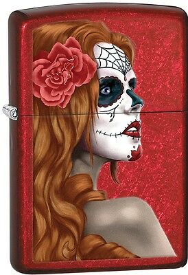 Zippo 2015 Catalog Day Of Dead Girl Skull W/ Rose Candy Apple Red Lighter 28830