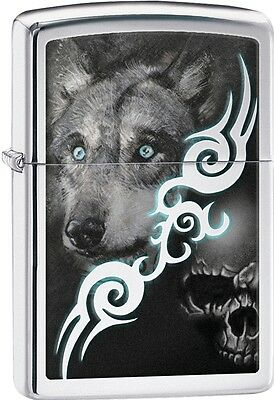 Zippo 2015 Blue Eyed Wolf With A Evil Skull High Polish Chrome Lighter 28872 NEW