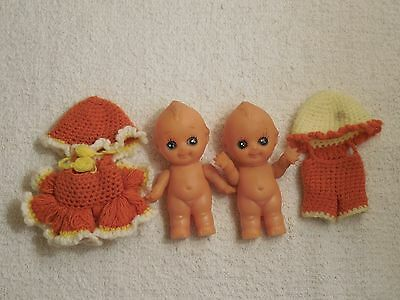 """Pair of Vintage Rare Small Kewpie Dolls - 3 1/2"""" - Rubber - Crochet Outfits"""