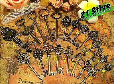 Lot of 21 Antique Vtg old look skeleton key lot pendant heart bow lock steampunk