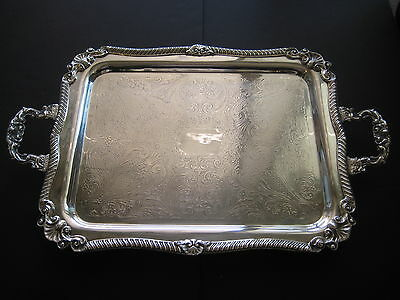 """VINTAGE SHERIDAN SILVER ON COPPER FOOTED SERVING TRAY 24"""" X 15"""" INCLUDING HANDLE"""