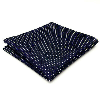 MH6 Dots Blue Navy White Pocket Square Mens Handkerchief Silk Big Size Hanky