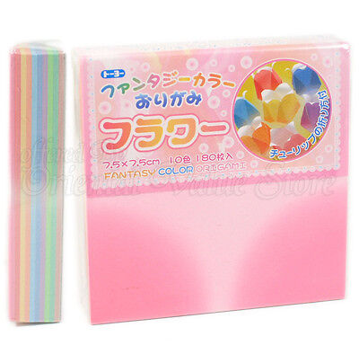 Japanese Origami Paper - 10 Fantasy Flower Color 75mm 180 Sheets - Made in Japan
