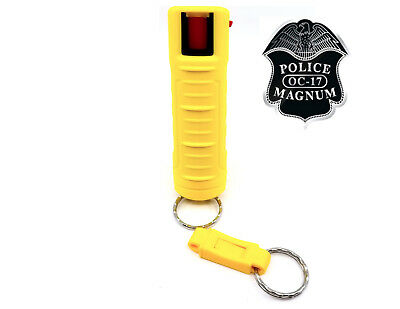 Police Magnum mace pepper spray .50oz yellow molded keychain QR defense security