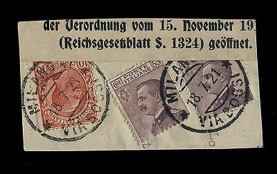 """ITALY 1921 10c RED & 2x55c VIOLET VEIII CANCELLED """"MILANO/VIA BOSSI"""" ON FRAGMENT"""