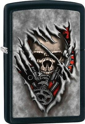 Zippo Steam Punk Skull Exposed Through A Sliced Fabric Black Matte Lighter 28882