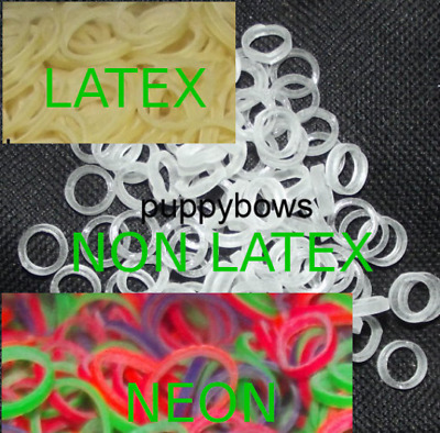 PuppyBows ~Dog grooming latex neon rainbow elastic rubber topknot bands dog bows