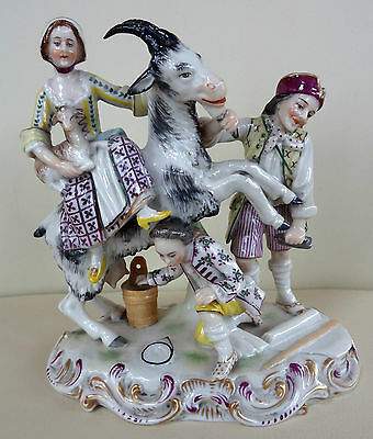 Lovely 19th Century Porcelain Figure Group with Goat - Vienna Beehive Mark