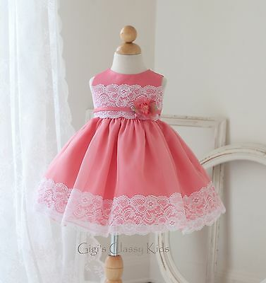 New Baby Satin Organza Flower Girls Dress Easter Christmas Dressy Pageant USA