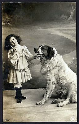 1907 RPPC Saint Bernard and Little Girl ~ Real Photo Postcard