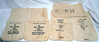 VINTAGE LOT CANVAS MONEY COIN BAGS AMERICAN 1st NATIONAL BANK OF CHICAGO US MINT