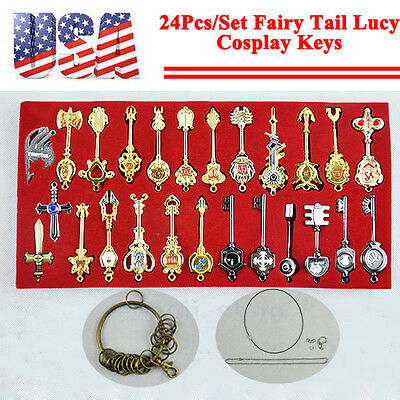 24Pcs/Set Fairy Tail Lucy Cosplay Keys Necklace + Pendant + Keychain with Box