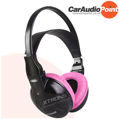 XTRONS 2 Channels Infrared IR Car DVD Player PC Headphones Headsets Kids Pink