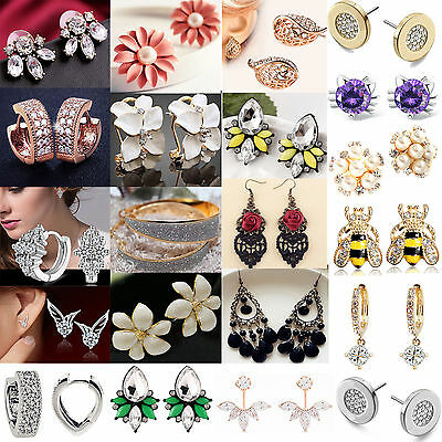Fashion Women's Pearl Rhinestone Silver Plated Ear Stud Earrings Jewellery NEWLY