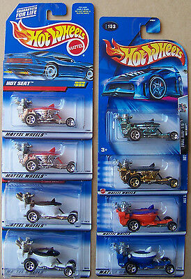 1998 1999 2000 2001 2003 2004 Hot Wheels Hot Seat Choice Lot All Different