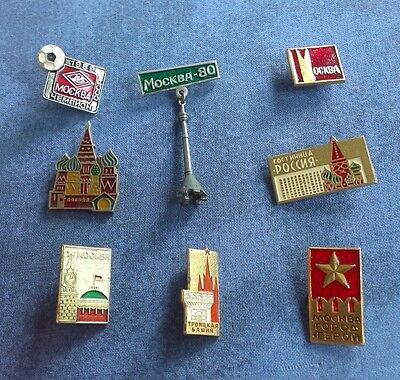 Lot of 8 Soviet Union USSR Russian Badge Pin  MOSCOW CITY KREMLIN # 38