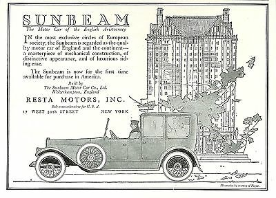 1920 Resta Sunbeam Motor Car Of English Aristocracy Ad Wolverhampton England
