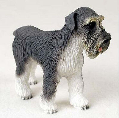 SCHNAUZER DOG Gray Uncropped Figurine Statue Hand Painted Resin Gift Pet Lovers