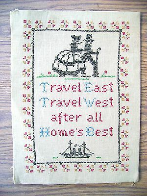 Vintage Santa Fe ☛ Colonial Times ☛ American made Sampler ☛ on Linen ☛ Stitching