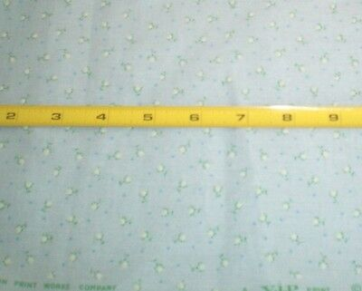 4 yrds Light Blue Calico Fabric with flocked flowers cotton blend VIP Cranston