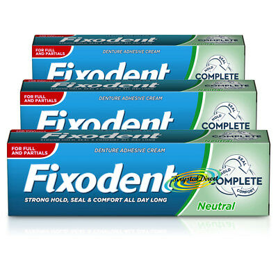 3x Fixodent Neutral Complete Denture Adhesive Cream 47g Hold Seal & Comfort