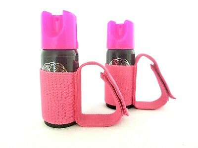 POLICE MAGNUM .50oz pepper spray 2 pink molded keychain 2 pocket knife defense