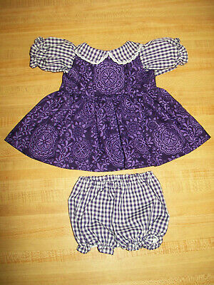 """16"""" CPK Cabbage Patch Kids  PURPLE GINGHAM CHECK + FLOWER CALICO DRESS"""