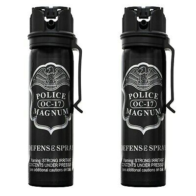 2 Police Magnum pepper spray 4 ounce flip top fogger belt clip defense security