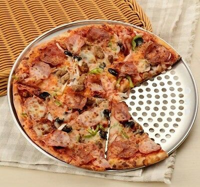 """Heavy Duty Aluminum Thin Crust Pizza Pan Perforated Tray Coupe Size 7"""" to 20""""Inc"""
