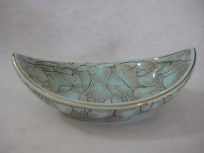 """OLD VINTAGE HAND PAINTED BLUE & GREEN DELFT HOLLAND BOWL TRAY, 7"""" X 4 1/2"""""""