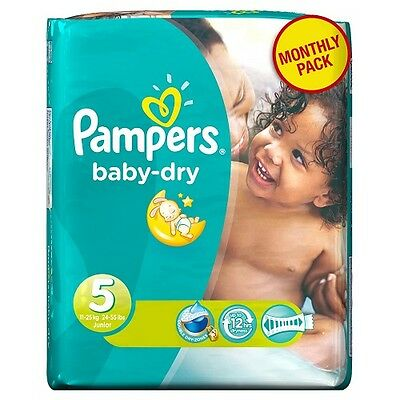 Couches Pampers BABY DRY TAILLE 5 (11-25KG) 1 Mois de Consommation 144 Couches