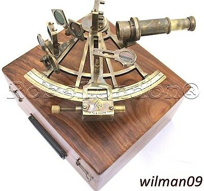 "Marine Captain Sextant - Brass Nautical Sextant 8"" w BOX - Henry Barrow, London"