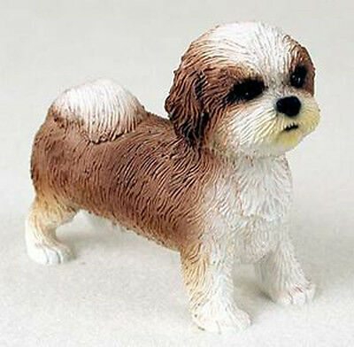 SHIH TZU (Tan White Puppy Sport Cut) DOG Figurine Statue Hand Painted Resin