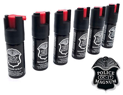 6 Police Magnum pepper spray .50oz unit safety lock personal defense protection