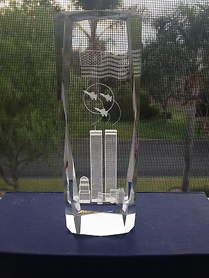 3d Laser Crystal Paperweight Twin Towers New York 9 11