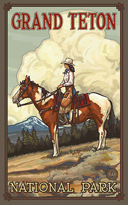 Retro Poster-Grand Teton NP-Cowgirl On Brown Horse (PAL-1031)
