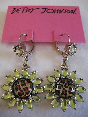 Betsey Johnson Green Petal Leopard Flower Drop Earrings $30 NWT *Authentic*
