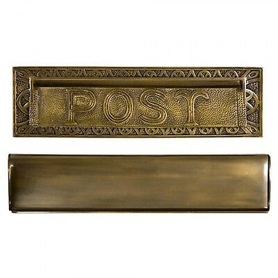 "Naiture Solid Cast Brass Heavy Duty ""Post"" Mail Slot In 2 Sizes and 4 Finishes"