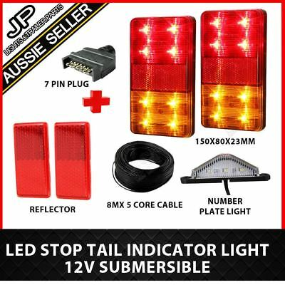 Led Trailer Lights Kit 7 Pin Plug, Number Plate Light, 5 Core Wire,reflectors