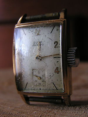 VIN-MENS ELEGANT ELGIN 10K GOLD FILLED WATCH-40s-70s ERA DELUXE MODEL SUB DIAL!